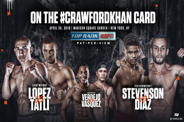 Rising stars Teofimo Lopez, Shakur Stevenson and Felix Verdego to fight April 20