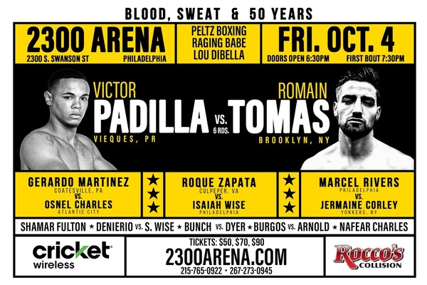 Victor Padilla vs. Romain Thomas bout headlines Peltz 50th anniversary card Oct.4