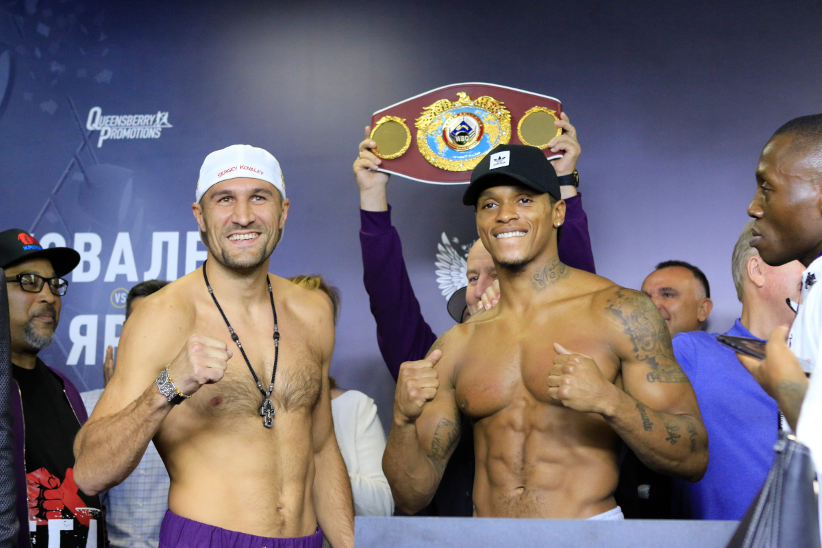 Sergey Kovalev and Anthony Yarde weigh-in for tomorrow's big fight