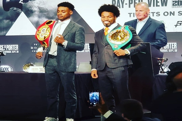 Errol Spence Jr. and Shawn Porter exchange words at final press conference
